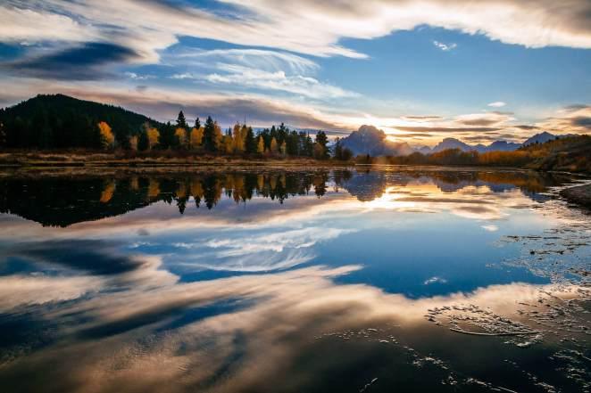Teton Photo Adventures - Autumn Wyoming Clouds Reflection