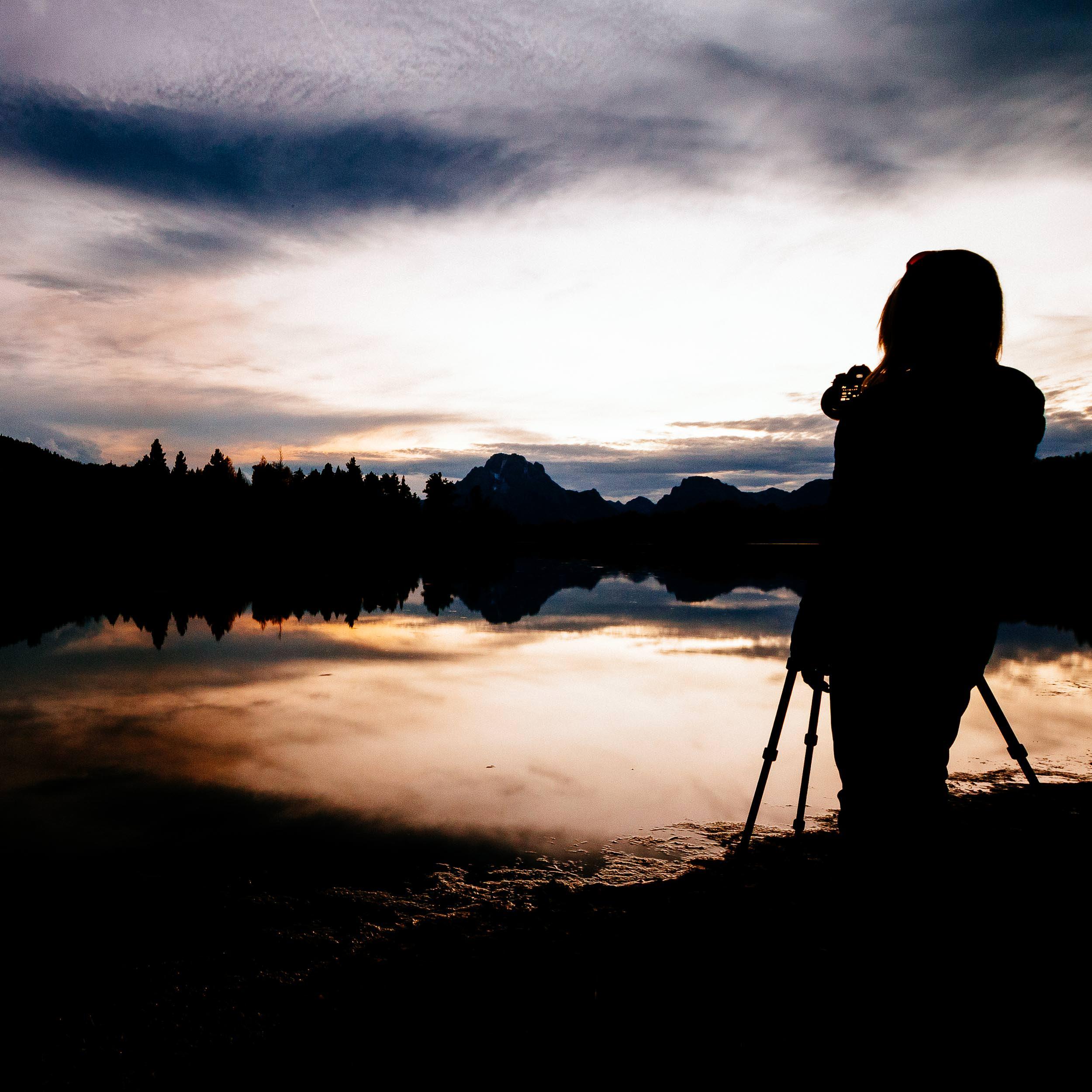 Teton Photo Adventures - Client photographing through sunset