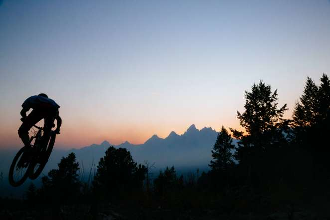 Mountain Biking Sunset Wildfire Tetons