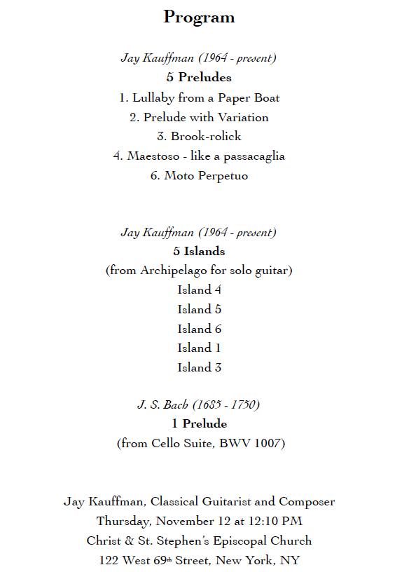 Program for islands Concert