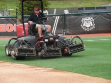 Foley Field Grounds Foreman Nick Paserchia begins mowing the lawn. Today, he is using a 3/4 inch mower to cut diamond pattern into the outfield. (April 15th) Photo Credit: Jaylon Thompson, Multiplatform news