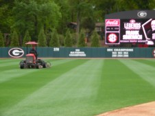 Nick Paserchia mows outfield grass to shade the lighter and darker sections of the outfield. This helps the field look better on television at home, since the game is on ESPN. (April 15th) Photo Credit: Jaylon Thompson, Multiplatform news