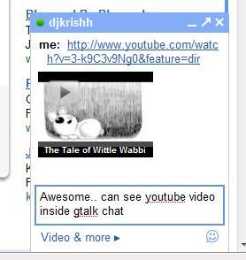 Youtube in Gtalk