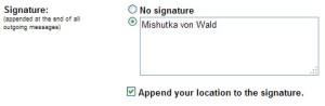 Location in Signature