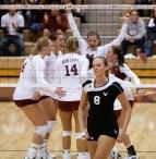 The University of Montana volleyball team celebrates a 3-2 comeback victory over Eastern Washington University.