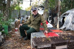 Burt Fairston, 77, was left homeless for several months when his southwest Houston home was condemned and torn down earlier this year, in part because of damage he couldn't afford to repair after Hurricane Ike. Until he received a county housing voucher for an apartment, the veteran lived in a twig-and-plastic-bag shelter he built in what once was his backyard. He was visiting his old home Thursday to pick up some books.
