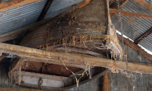 Lifeboat from sunk 19th century The Maid of Lincoln found in rafters of historic farm shed