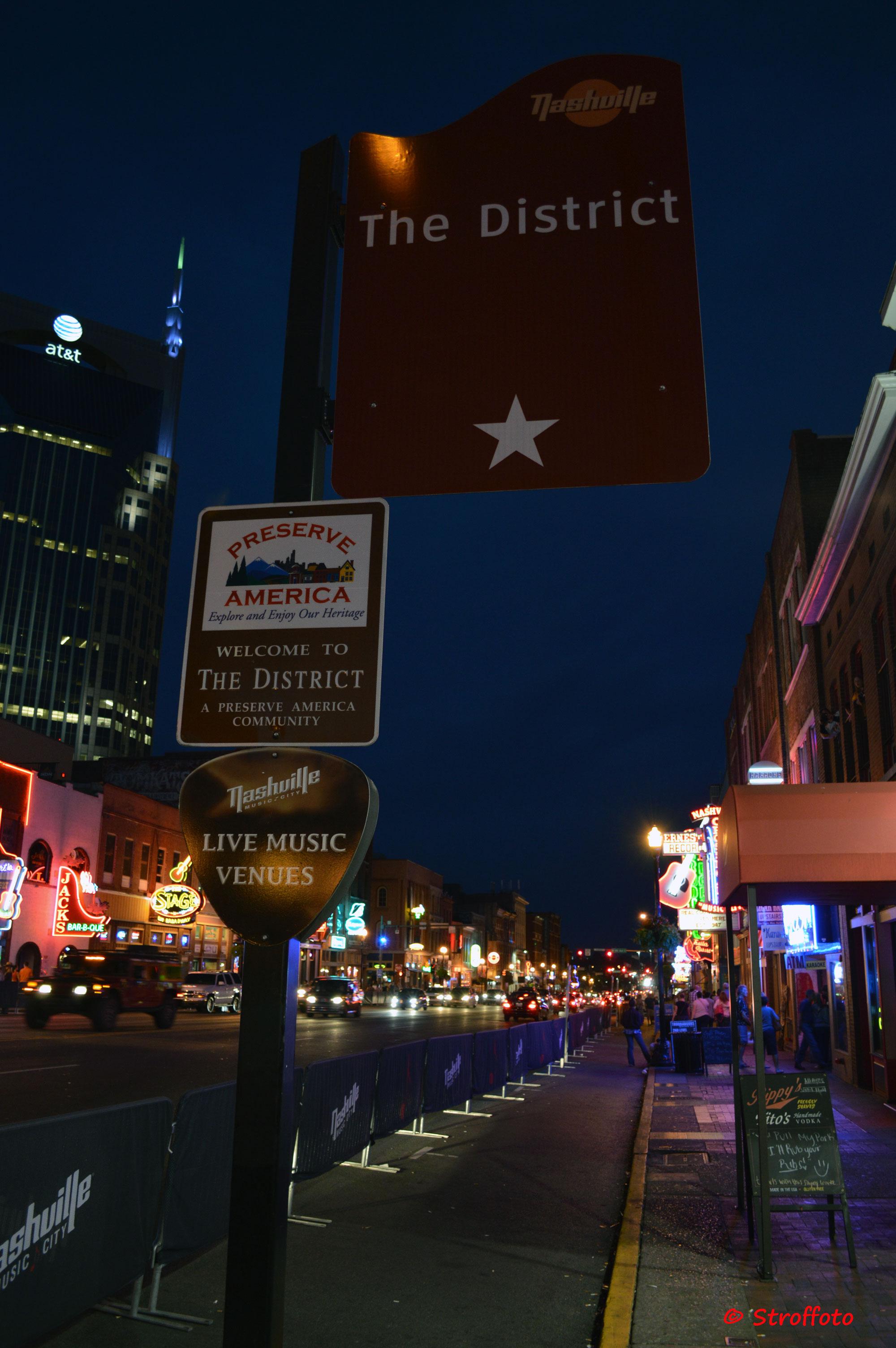 Broadway in Nashville At Night