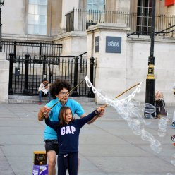 Bubbles in Trafalgar Square London