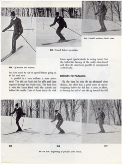 1972 - Paul Valar and American System. Photos of instructor from Cannon Mtn., NH, demonstrating Parallel Turn with pole