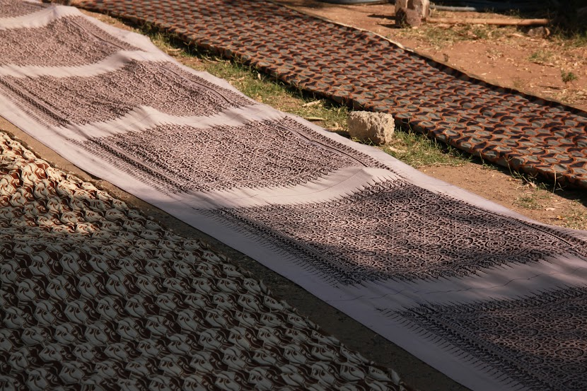 Partially Printed Ajrakh Fabric Left to Dry in the Sun