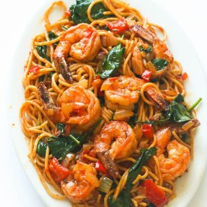 Skillet Shrimp with Tomato Florentine Sauce, Fettuccini, and Feta (for 1)