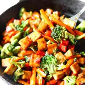 Teriyaki Tofu Bowl with Sesame-Roasted Vegetables and Autumn Greens (for 1)
