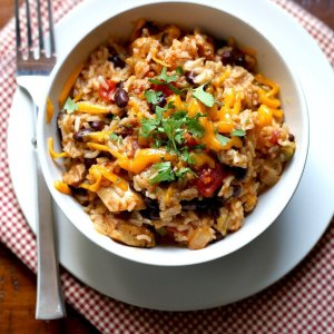 Mayan Grilled Chicken, Sofrito Brown Rice, Roasted Sweet Potatoes, Black Beans, Cheddar (for 1)