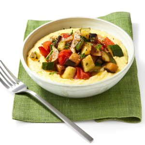 Moosewood's Ratatouille with Creamy Polenta and Goat Cheese (for 1)