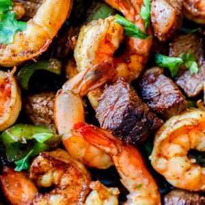 Grilled Steak and Shrimp Kebabs, Roasted Butternut Squash, Red Rice Pilaf (for 1)