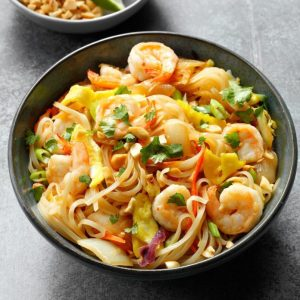Pad Thai Noodles with Wok-Seared Shrimp and Roasted Peanuts (for 1)