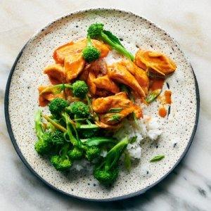 Korean Coconut Chicken with Broccoli, Brown Jasmine Rice (for 1)