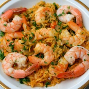 Latin American Seafood Rice with Shrimp and Scallops (Arroz con Mariscos) for 1