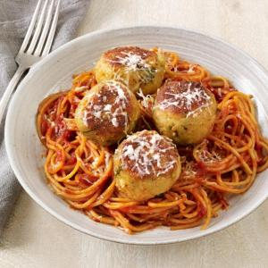 Linguine with Amazing Vegetarian Eggplant Meatballs and Marinara
