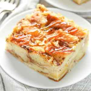 Peach Bread Pudding with Butterscotch Rum Sauce (for 2)