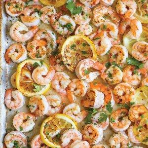 Sheet Pan Garlic Lemon Shrimp with Margherita Pasta (for 1)