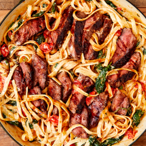 Grilled Flank Steak Marinara with Linguini, Vegas-Style (for 1)