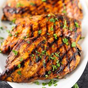 Balsamic Grilled Chicken with #BakedFetaPastaEggplant (for 2 or 4)