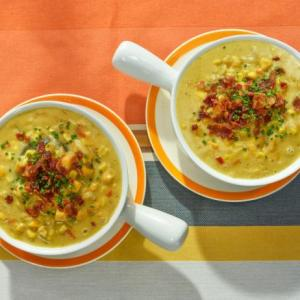 Soup and Muffin Deal: Sweet Potato Corn Chowder with Zucchini-Carrot Nut Muffins (for 2)