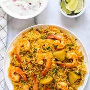 Coconut-Lime Grilled Shrimp, Sweet Potato Biryani, Cilantro-Mint Chutney (for 1)