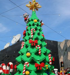 lego christmas tree federation square melbourne tree during the day [ 3648 x 5472 Pixel ]
