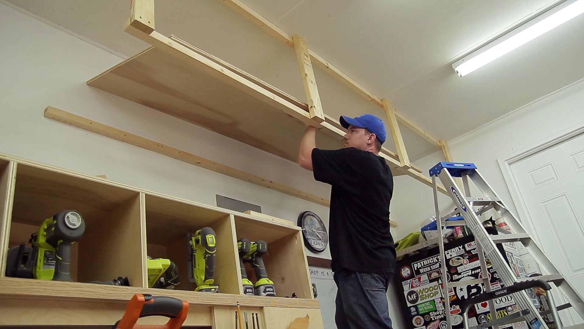 DIY Fast and Easy Built-In Wall Garage Shelves