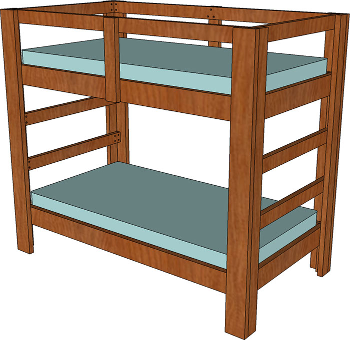 2x4 and 2x6 twin bunk bed plan