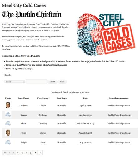 Cold case database