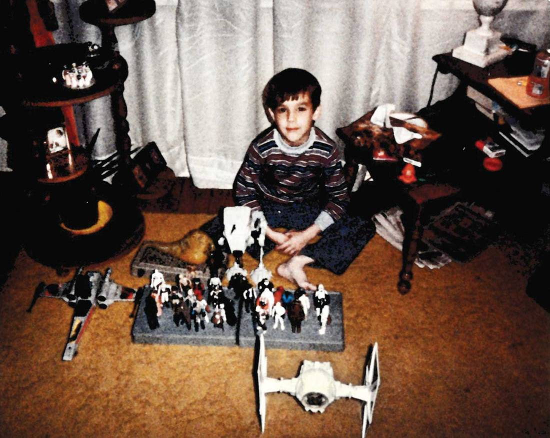 Writer Jayson Peters poses with a small sample of his 'Star Wars' toy collection circa 1983.