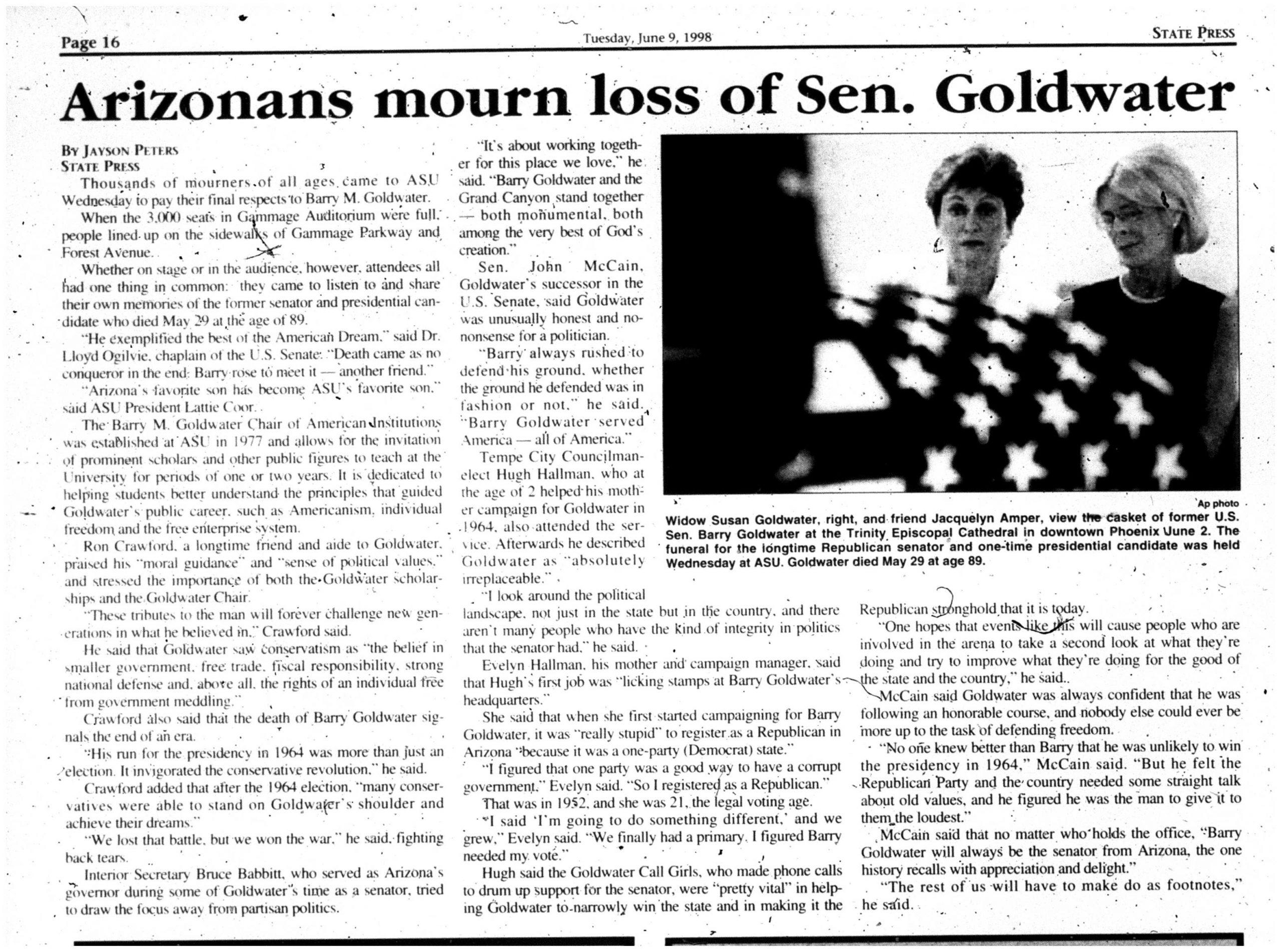 Arizonans mourn loss of Sen. Goldwater