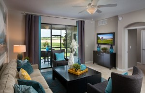 Augusta Model Living Room and Patio at ChampionsGate