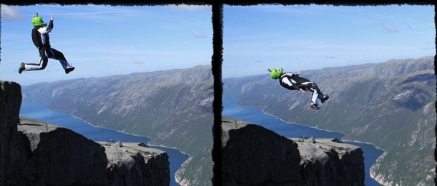 uparci, niebanalni, dla normalnych nienormalni – dream jumping, B.A.S.E., slackline na górze Kjerag