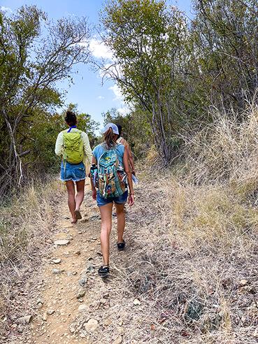Two Girls Hiking a Trail