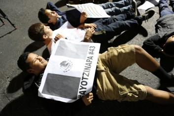 Ayotzinapa in die-in. Photo by Beverly Yuen Thompson