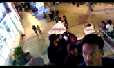 Screenshot from video going up to walkway die-in