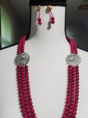 Deep Neck Pink Pearl Necklace with Earrings