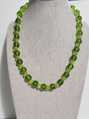 Leafy Green Pearl Necklace