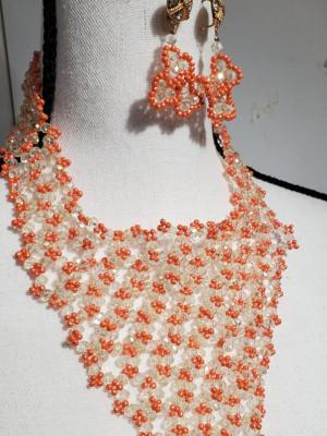 White and Orange V Neck Necklace with Floral Earrings