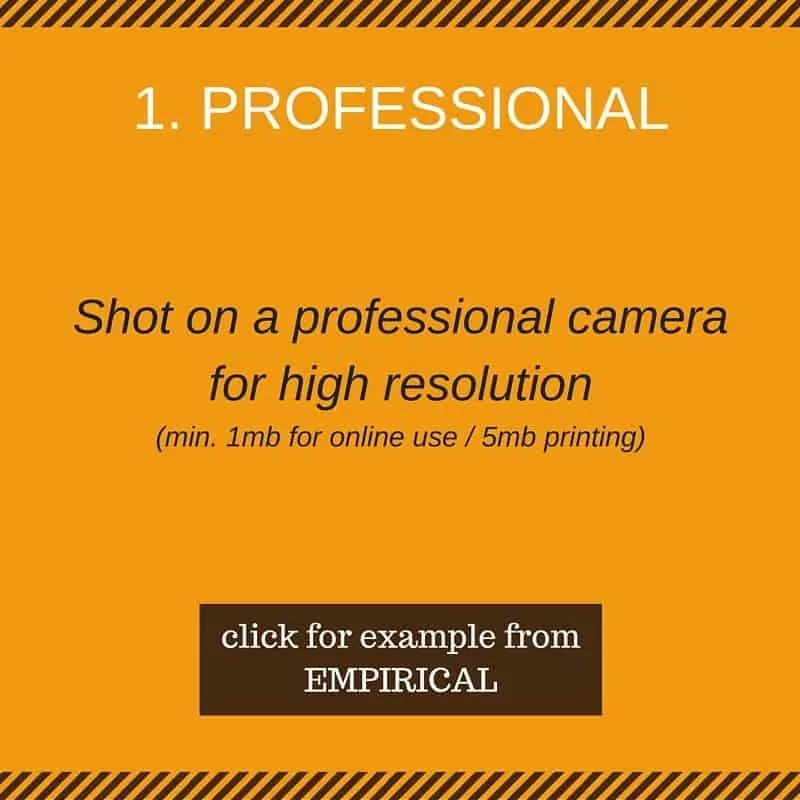 1. Professional (shot on a professional camera for high resolution)