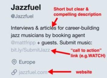 jazz on Twitter - example bio