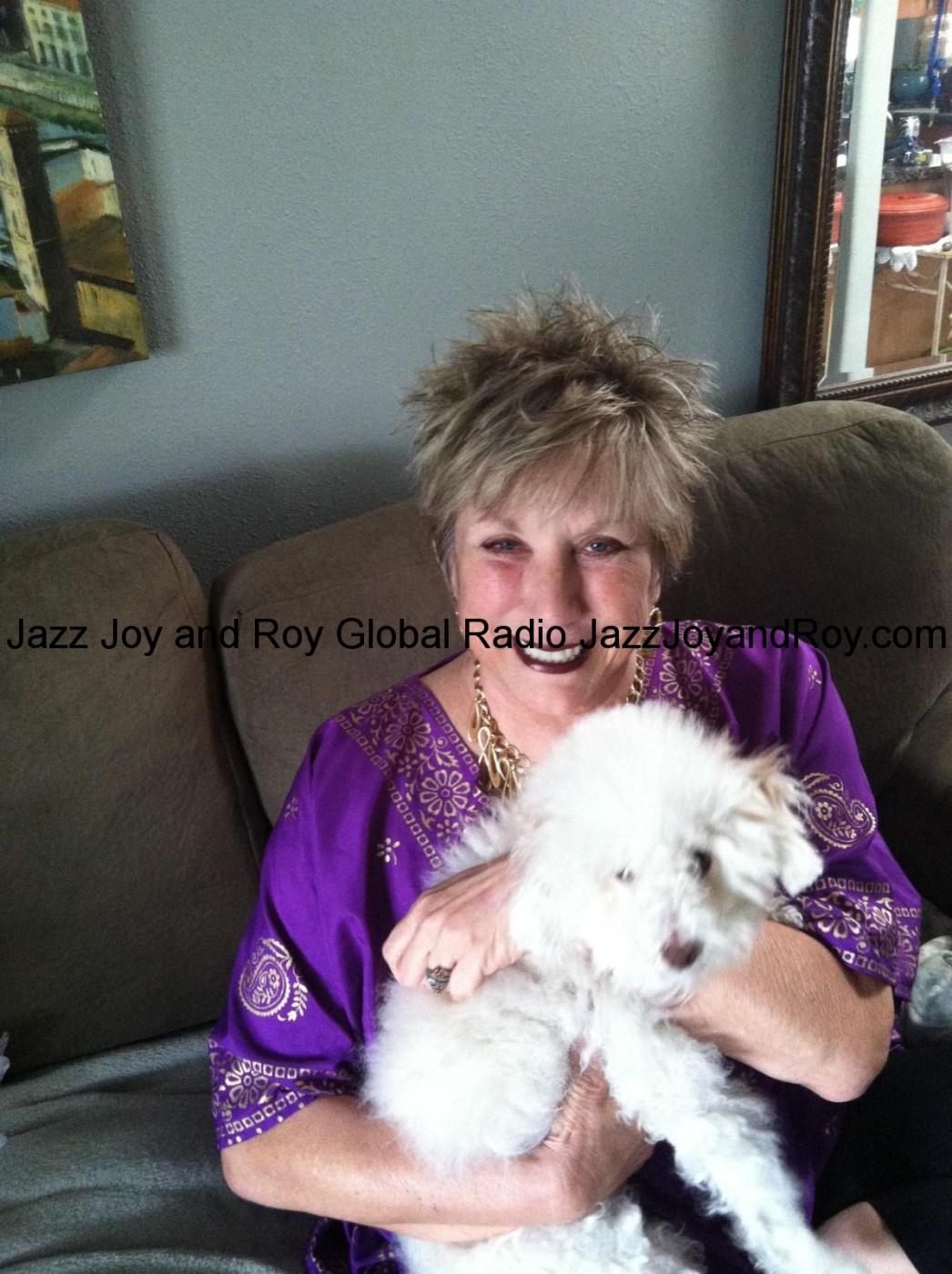 Beautiful Kathy with the family dog. Kathy's hubby Roy loves how Sylvana styles Kathy's hair