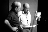 Paul English and Dave Liebman reviewing charts.