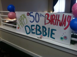 I painted a birthday sign for Debbie..