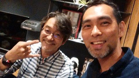 左、藤村先生と僕。エヴァンジェリストコースでの一枚。
